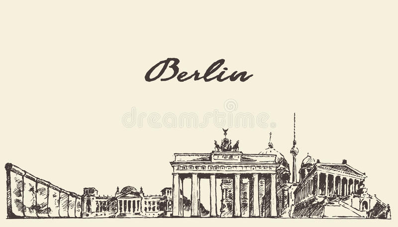 Berlin skyline vector illustration drawn sketch. Berlin skyline vintage vector engraved illustration hand drawn sketch royalty free illustration