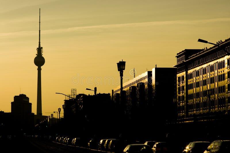 berlin solnedgång arkivbilder
