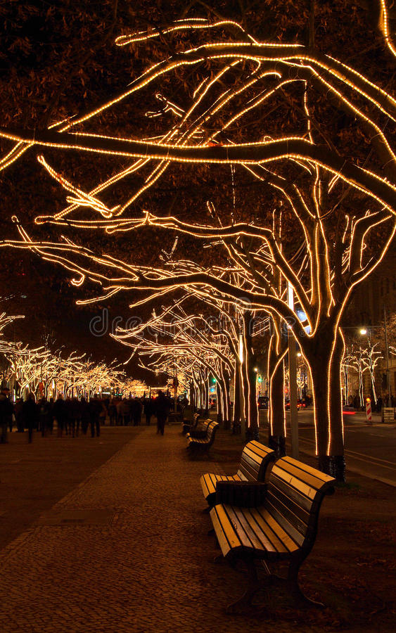Berlin sous Noël d'arbres de tilleul photos stock