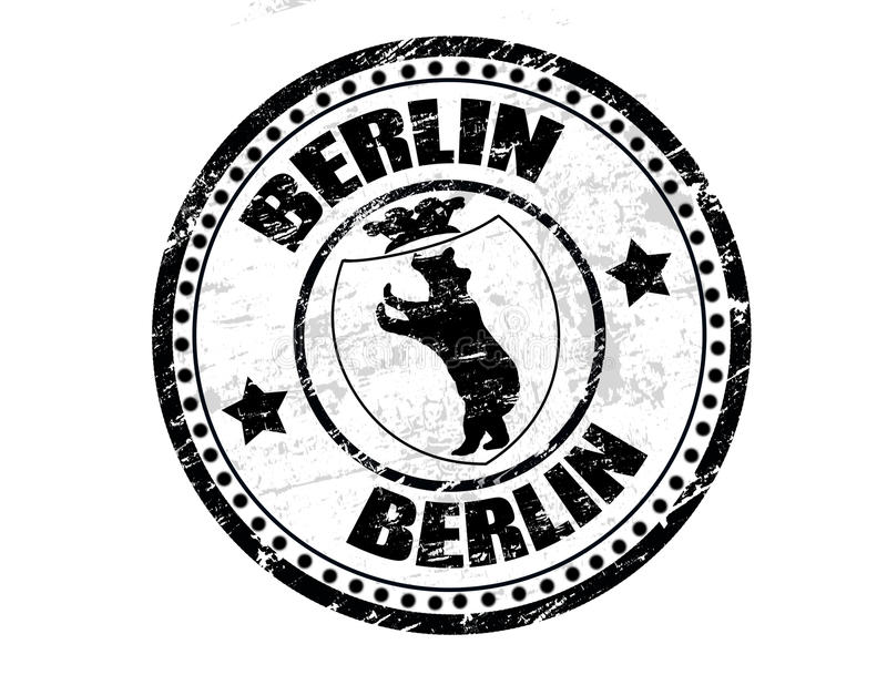 Berlin stamp. Black grunge rubber stamp with bear silhouette and the crowthe symbol of the city of Berlin royalty free illustration