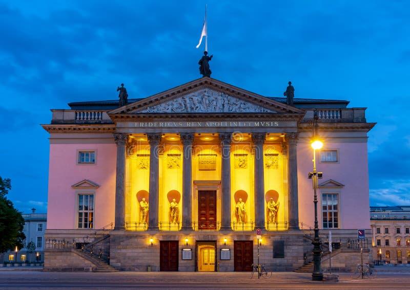 Berlin State Opera Staatsoper Unter den Linden at night, Germany stock photography