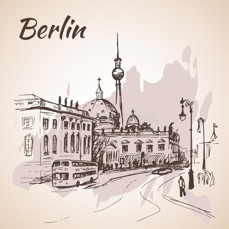 Berlin street with buses and Berlin TV Tower. Hand drawn Berlin street with buses and Berlin TV Tower royalty free illustration