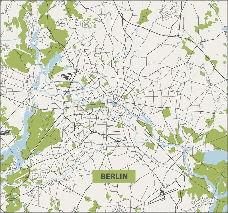 Free Berlin Street Map. No Text. Berlin City Map Royalty Free Stock Photography - 160942027