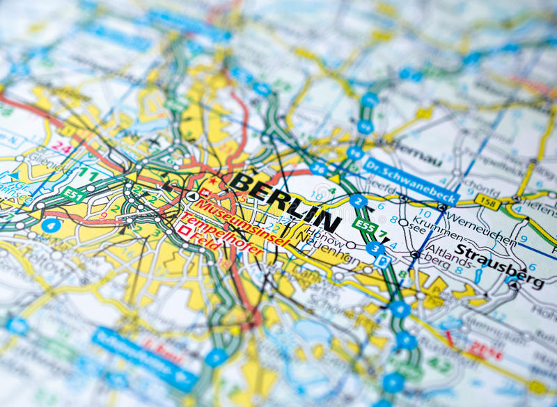 Berlin sur la carte images stock