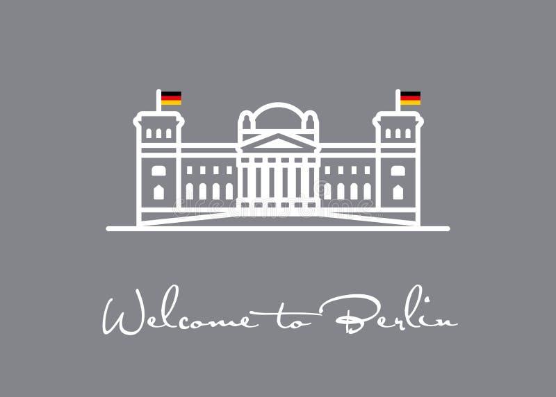 berlin target2300_0_ Reichstag ikony kartka z pozdrowieniami ilustracja wektor