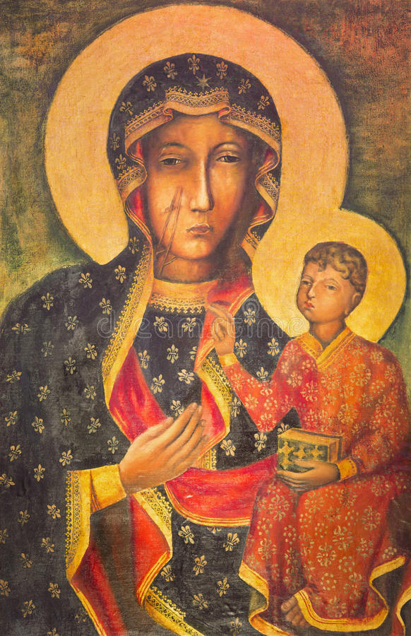 Free Berlin - The Painting Of Ikon Mother Mary Of Czestochowa Black Madonna In St. John The Baptist Church Stock Photos - 93958743
