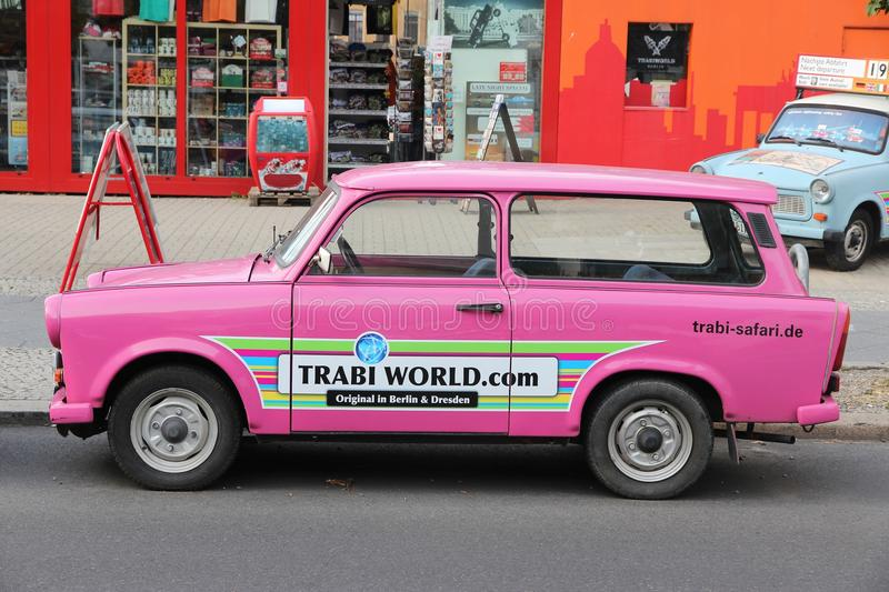 Berlin Trabant. BERLIN, GERMANY - AUGUST 25, 2014: Colorful Trabant 601 cars parked in Berlin. 3,096,099 Trabant cars were produced despite their infamous stock photo