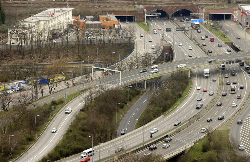 Berlin transport hub. Berlin, Germany - April 08, 2015: A major transportation hub in Berlin via Aerial view on the crossing West Cross and the highway A100 with royalty free stock photos