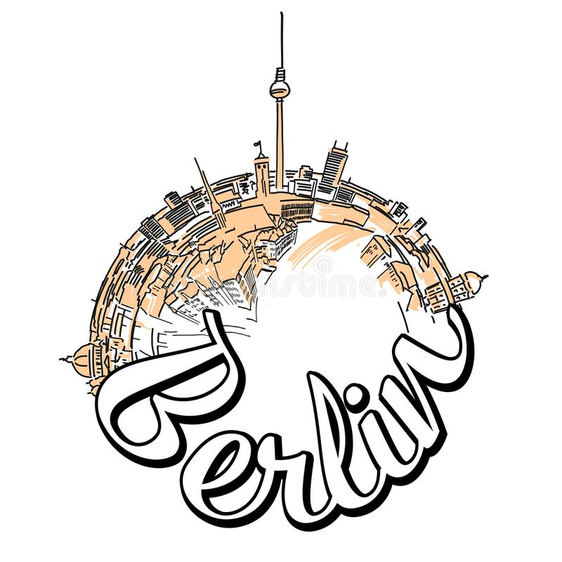 Berlin travel logo concept design. Colored skyline vector illustration with watercolor background and typo royalty free illustration