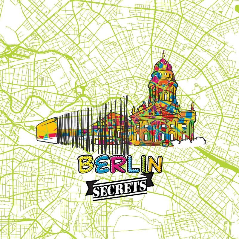 Berlin Travel Secrets Art Map illustration stock