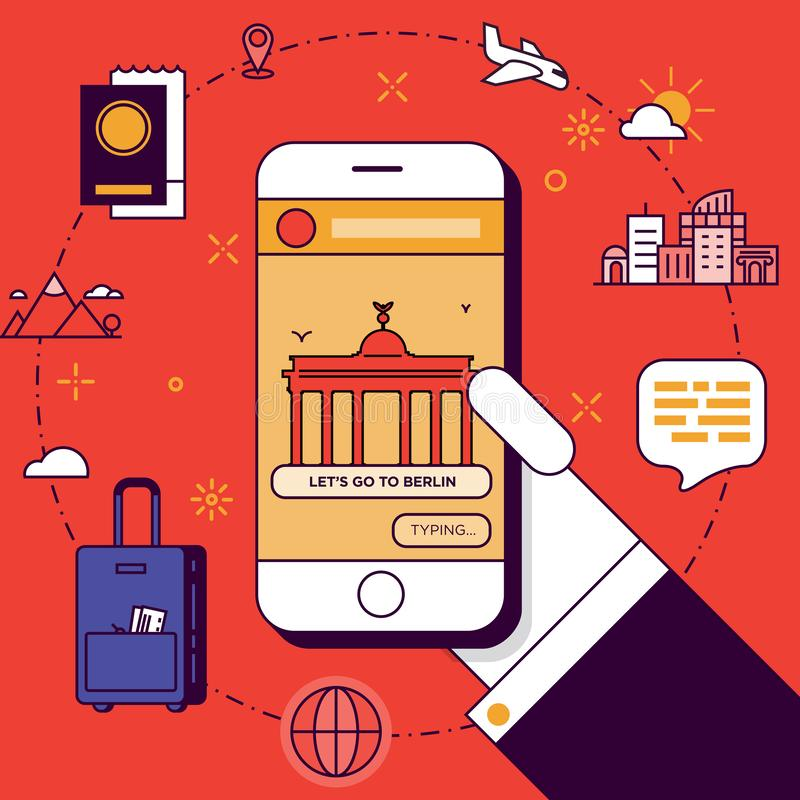 Berlin Trip Plan met in Hand Smartphone stock illustratie