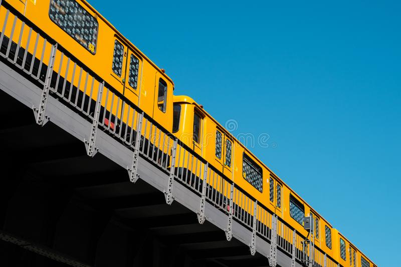 The Berlin U-Bahn train metro train U1 on elevated railroad bridge outdoor stock photos