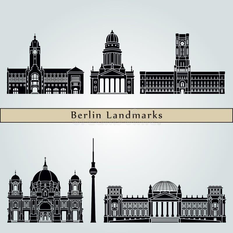 Berlin V2 Landmarks. Berlin landmarks and monuments isolated on blue background in editable vector file royalty free illustration