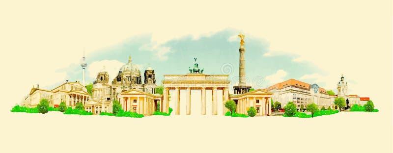 Berlin. Vector watercolor berlin city illustration vector illustration