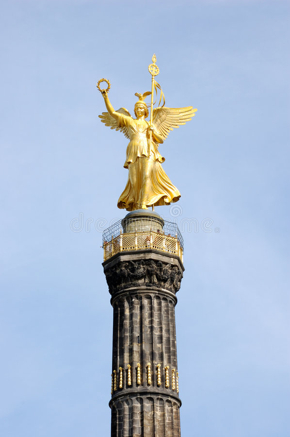 Berlin Victory Column. The Statue of Victoria on the top of Berlin's Victory Column royalty free stock images