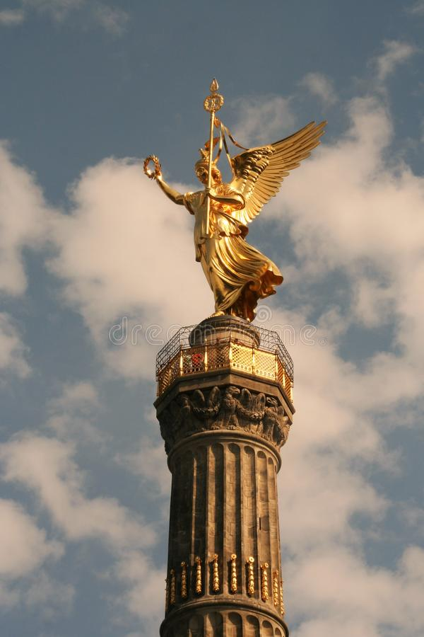 Victory column. AT BERLIN - ON 08/26/2013 - The victory column with the golden angel at tiergarten in Berlin Mitte, Germany royalty free stock image