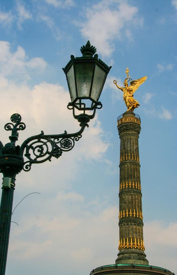Victory column. AT BERLIN - ON 08/26/2013 - The victory column with the golden angel at tiergarten in Berlin Mitte, Germany stock images