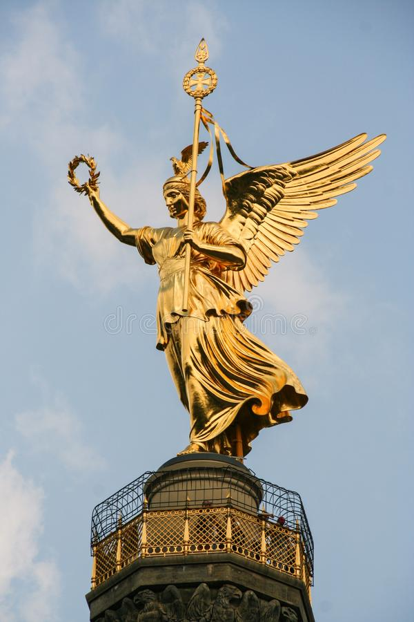 Victory column. AT BERLIN - ON 08/26/2013 - The victory column with the golden angel at tiergarten in Berlin Mitte, Germany stock image