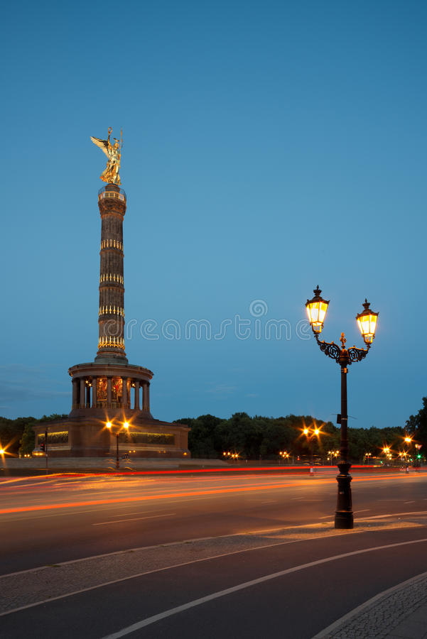 Berlin Victory Column at night. Siegessaule (Berlin Victory Column) in the evening, copy space royalty free stock image