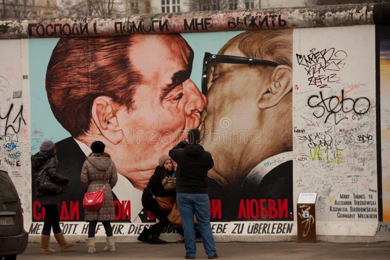 Berlin Wall Brezhnev-Honecker Kiss Graffii royalty free stock photos