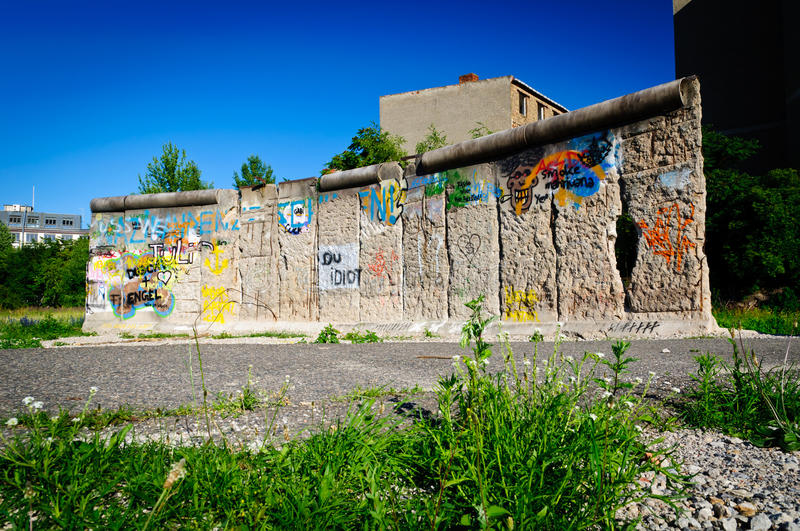 Berlin wall fragment. On chaussee street in berlin, germany stock image