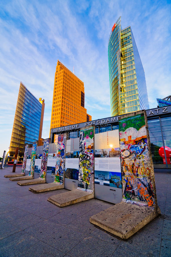 Berlin wall on potsdamer platz. Berlin wall fragments on potsdamer platz, berlin, germany