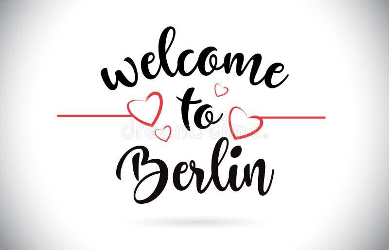 Berlin Welcome To Message Vector-Tekst met Rode Liefdeharten Illus royalty-vrije illustratie