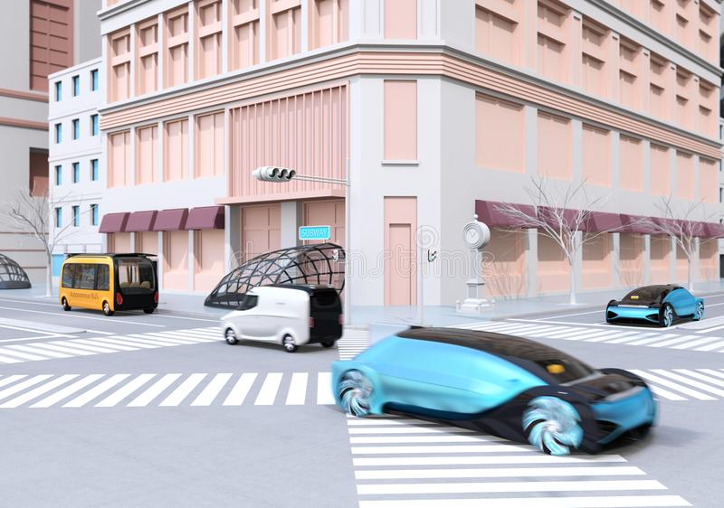 Berline autonome bleue, autobus jaune et fourgon de livraison conduisant sur l'intersection illustration stock