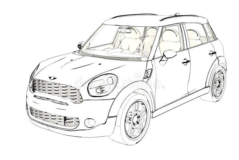 Berline avec hayon arrière Mini Cooper Sketch de 5 portes illustration 3D illustration libre de droits