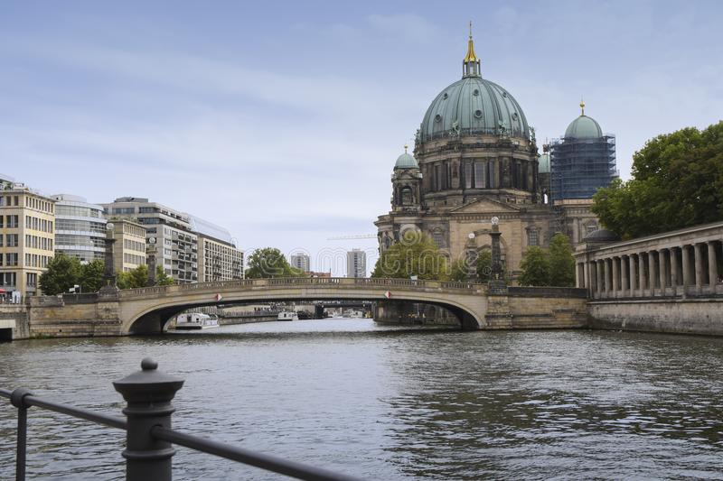 Berliner dom berlin cathedral and bridge on the river spree ag stock photos