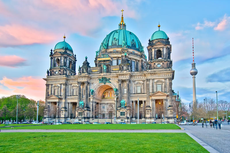 Berliner Dom at night in Berlin, Germany royalty free stock photography