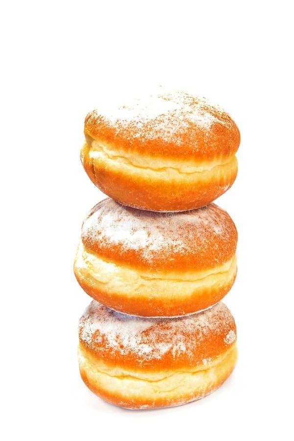 Berliner Donuts isoliert auf weißem Grund stockbild