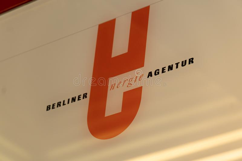 Berliner Energieagentur company signage. Berlin, Germany - June 8, 2019: Sign of the Berliner Energieagentur GmbH BEA, modern energy service company pacemaker royalty free stock image