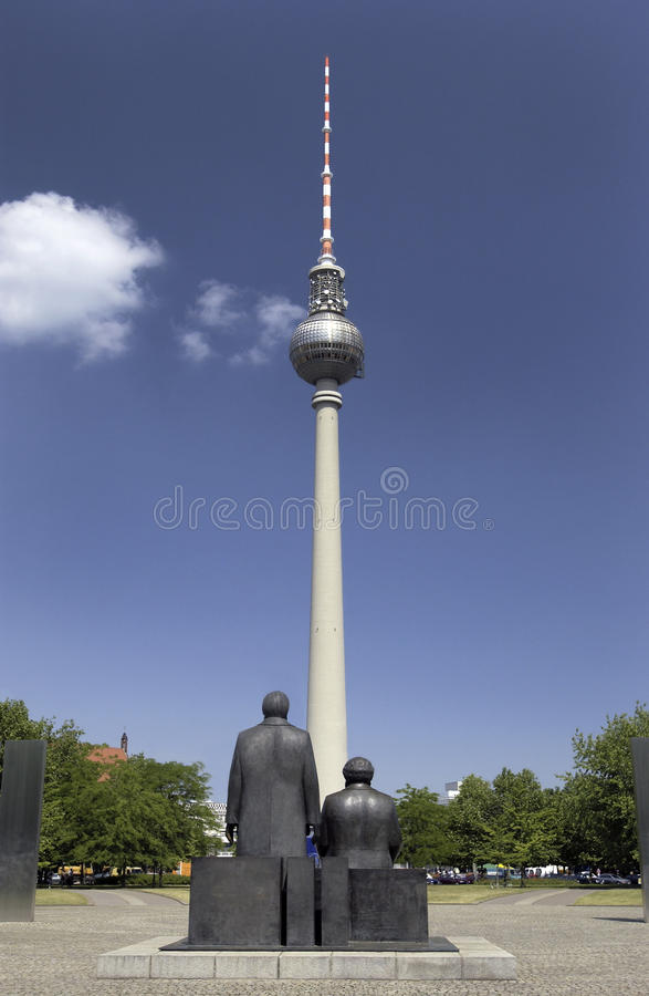 Berliner Fernsehturm - Berlin - Germany. Berliner Fernsehturm Communications Tower in the city of Berlin in Germany. The Fernsehturm is a television tower in the royalty free stock photo