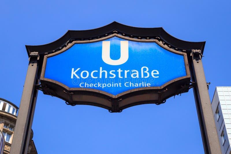 Berlino U-Bahn Checkpoint Charlie immagini stock