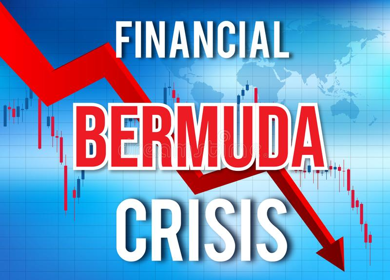 Bermuda Financial Crisis Economic Collapse Market Crash Global Meltdown. Illustration stock illustration