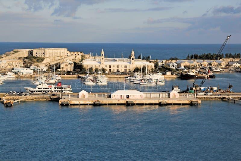 Bermuda, Lotniczego widoku Królewski Morski Dockyard zdjęcie stock