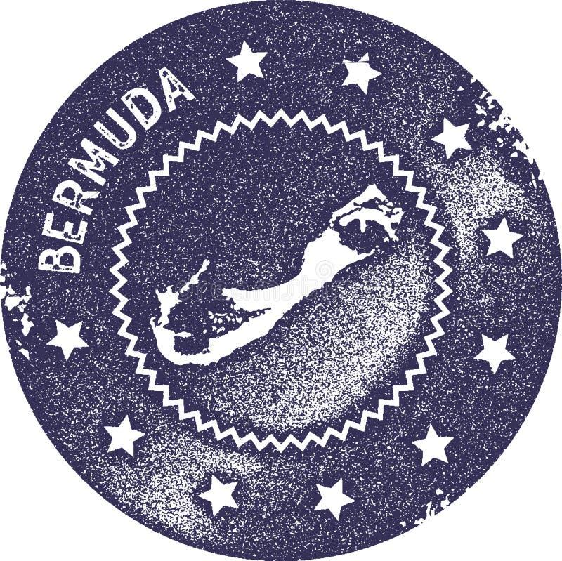 Bermuda mapy rocznika znaczek ilustracja wektor