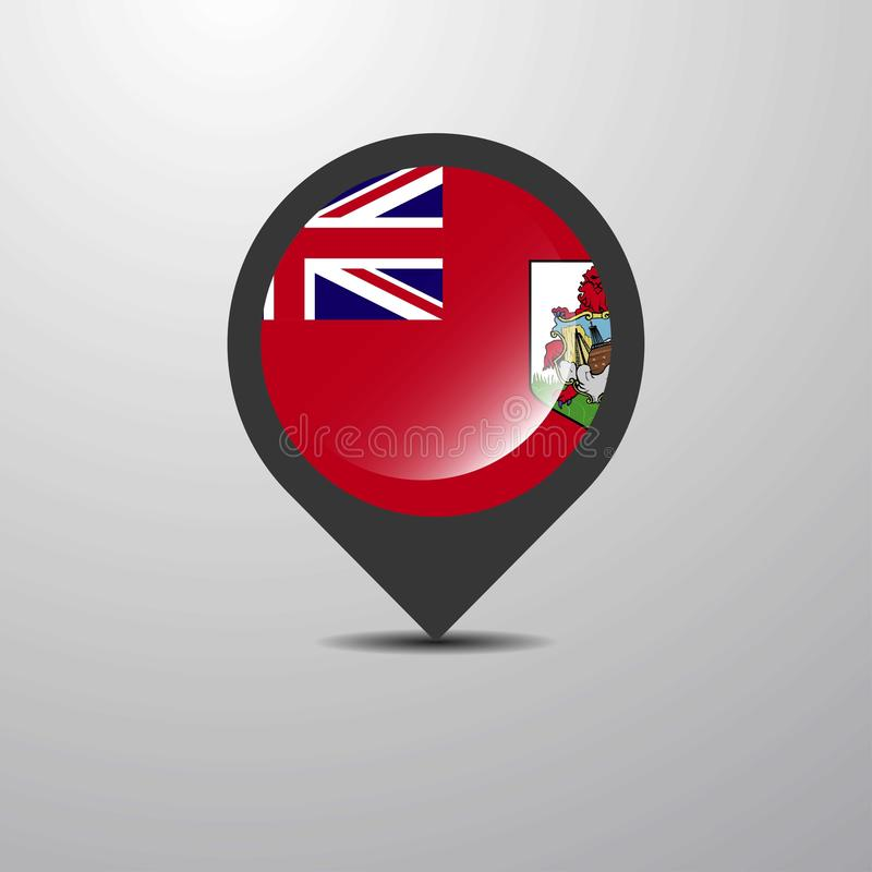 Bermuda mapy szpilka ilustracja wektor