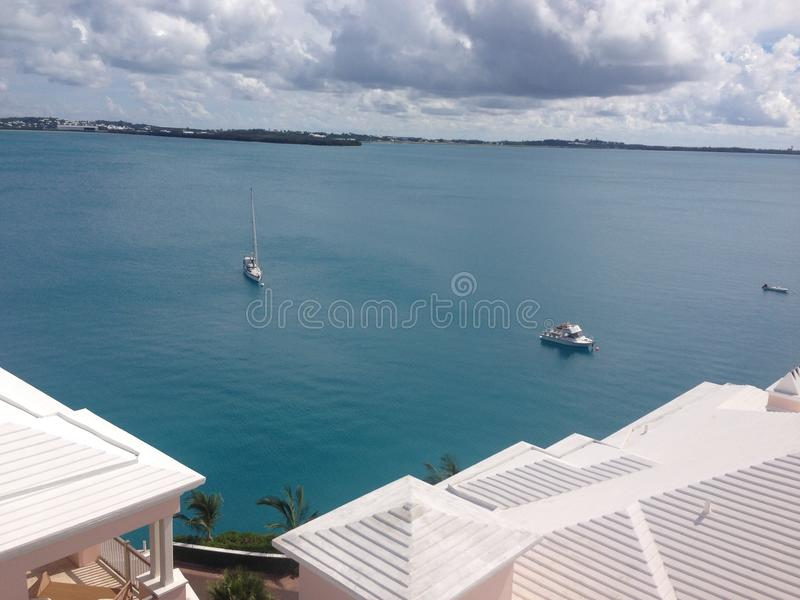 Bermuda roofs with a view of Castle Harbour royalty free stock image