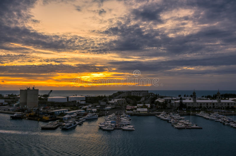 Bermuda Royal Naval Dockyard at Kings Wharf During Sunset. The Bermuda Royal Naval Dockyard at Kings Wharf on Ireland Island. This is located in Sandy`s Parish royalty free stock image