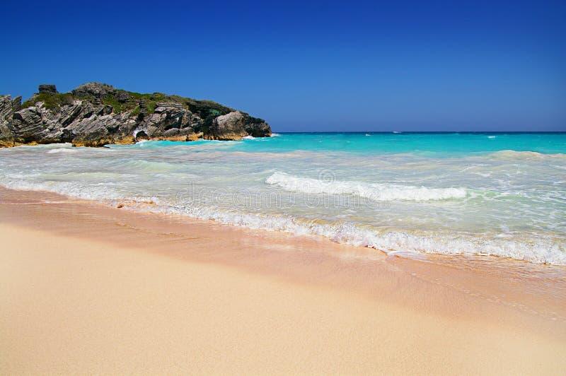 Bermuda`s famous pink sand beach stock image