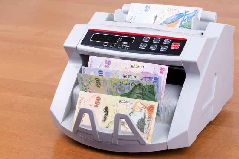 Bermudaanse Dollar in een tellende machine royalty-vrije stock afbeeldingen