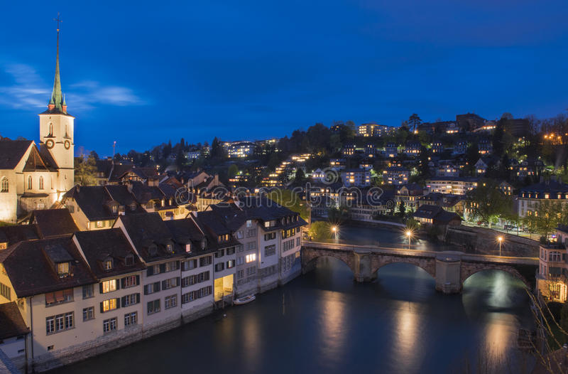 Bern, the capital city of Switzerland, during blue hour stock images