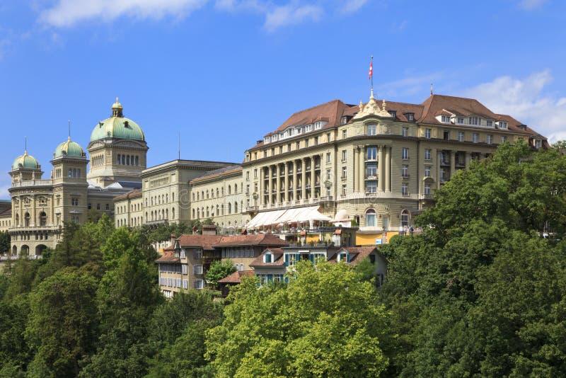 Bern, die Schweiz. Schweizer Parlamentsgebäude. stockfotografie