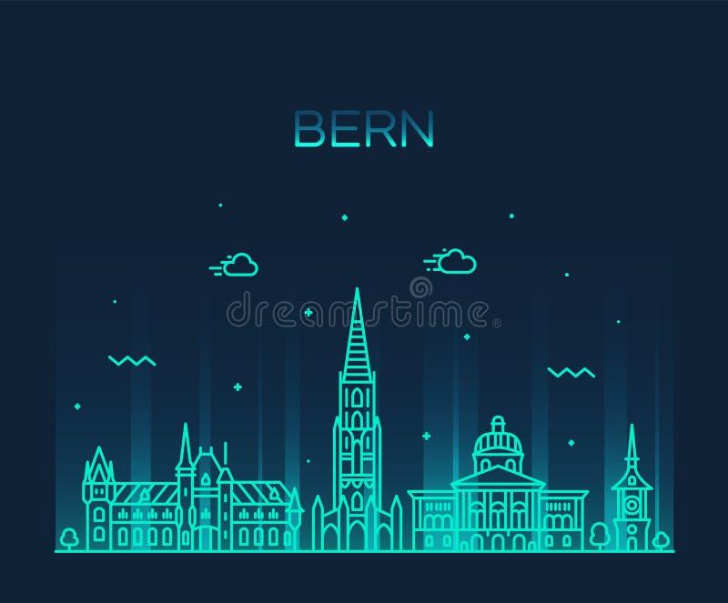 Bern linia horyzontu Szwajcaria miasta wektorowy liniowy styl royalty ilustracja