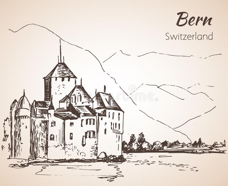 Bern-Stadtansichtskizze switzerland stock abbildung