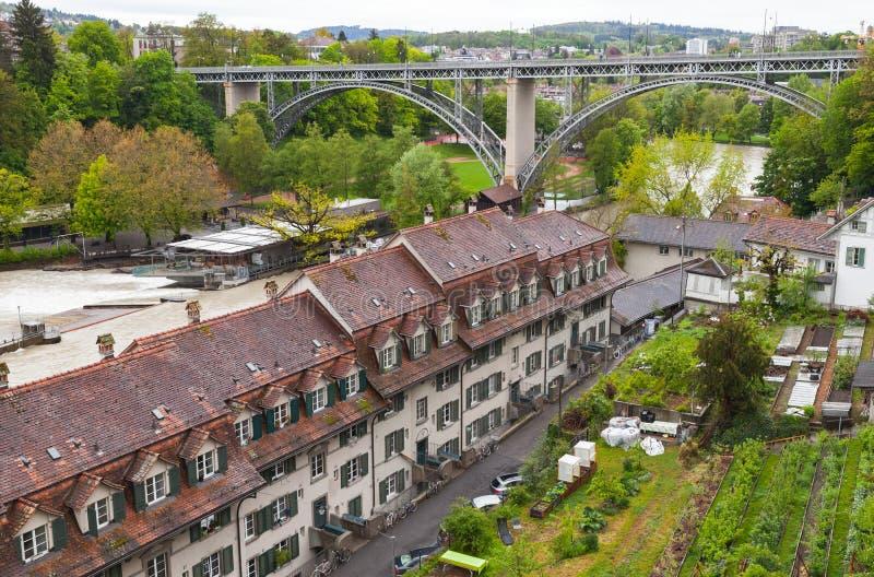 Bern, Switzerland. Aare river coast. Coastal Swiss town landscape with bridge. Bern, Switzerland. Aare river coast stock image