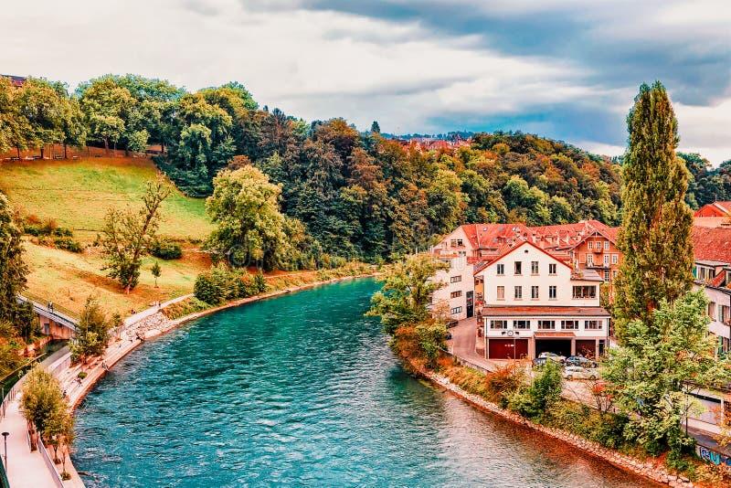Bern, Switzerland - August 31, 2016: Landscape with Aare River in Bern, Switzerland royalty free stock photos