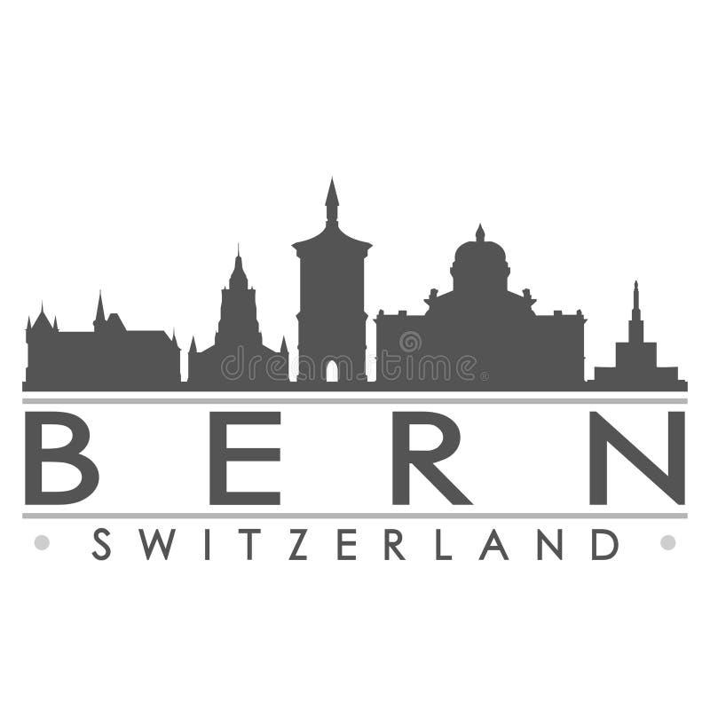 Bern Switzerland Europe Euro Icon-Vektor-Art Design Skyline Flat City-Schattenbild-Editable Schablone lizenzfreie abbildung